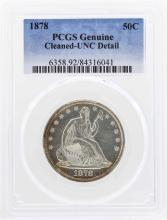 1878 Seated Liberty Half Dollar Coin PCGS Genuine Unc Details