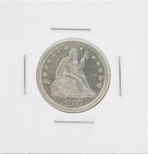1875 Seated Liberty Quarter Silver Coin