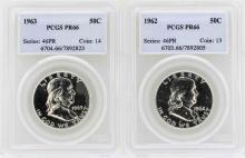 Lot of 1962-1963 Franklin Half Dollar Proof Coins PCGS PR66