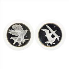 Lot of (2) Franklin Mint Goshawk and Albatross Art Medals