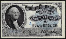 1893 Worlds Columbian Exposition Chicago Ticket