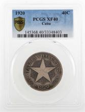 1920 Republic De Cuba Coin PCGS XF40