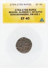 1754-1759 Rupee Mughal Alamgir II Shahjahanabad KM-458.1 Coin ANACS EF40