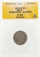 1913-D Buffalo Nickel Coin Variety 1 ANACS F12 Details Scratched Cleaned