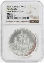 1990 Poland 100 Zlotch Solidarity 10th Anniversary Silver Coin NGC MS65