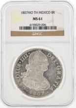1807MO TH Mexico 8 Reales Silver Coin NGC MS61