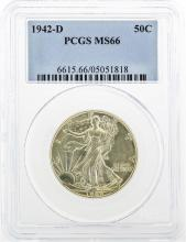 1942-D Walking Liberty Half Dollar Coin PCGS MS66