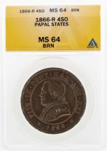 1866-R 4 Soldi Italian Papal States Coin ANACS MS64BRN