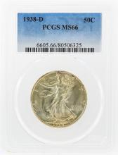 1938-D Liberty Walking Half Dollar Coin PCGS Graded MS66