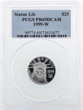1999-W $25 American Platinum Eagle Statue of Liberty Coin PCGS PR69DCAM