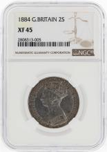 1884 Great Britain 2 Shilling Coin NGC XF45
