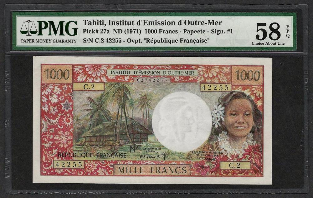 1971 Institut d'Edmission Tahiti 1000 Francs Note Pick 27a PMG Choice About Unc 58EPQ