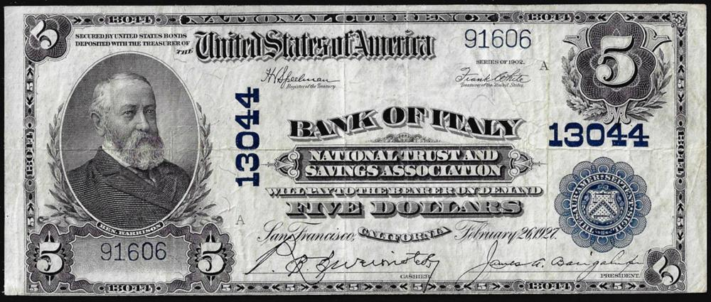 1902PB $5 Bank of Italy, CA CH#13044 National Currency Note