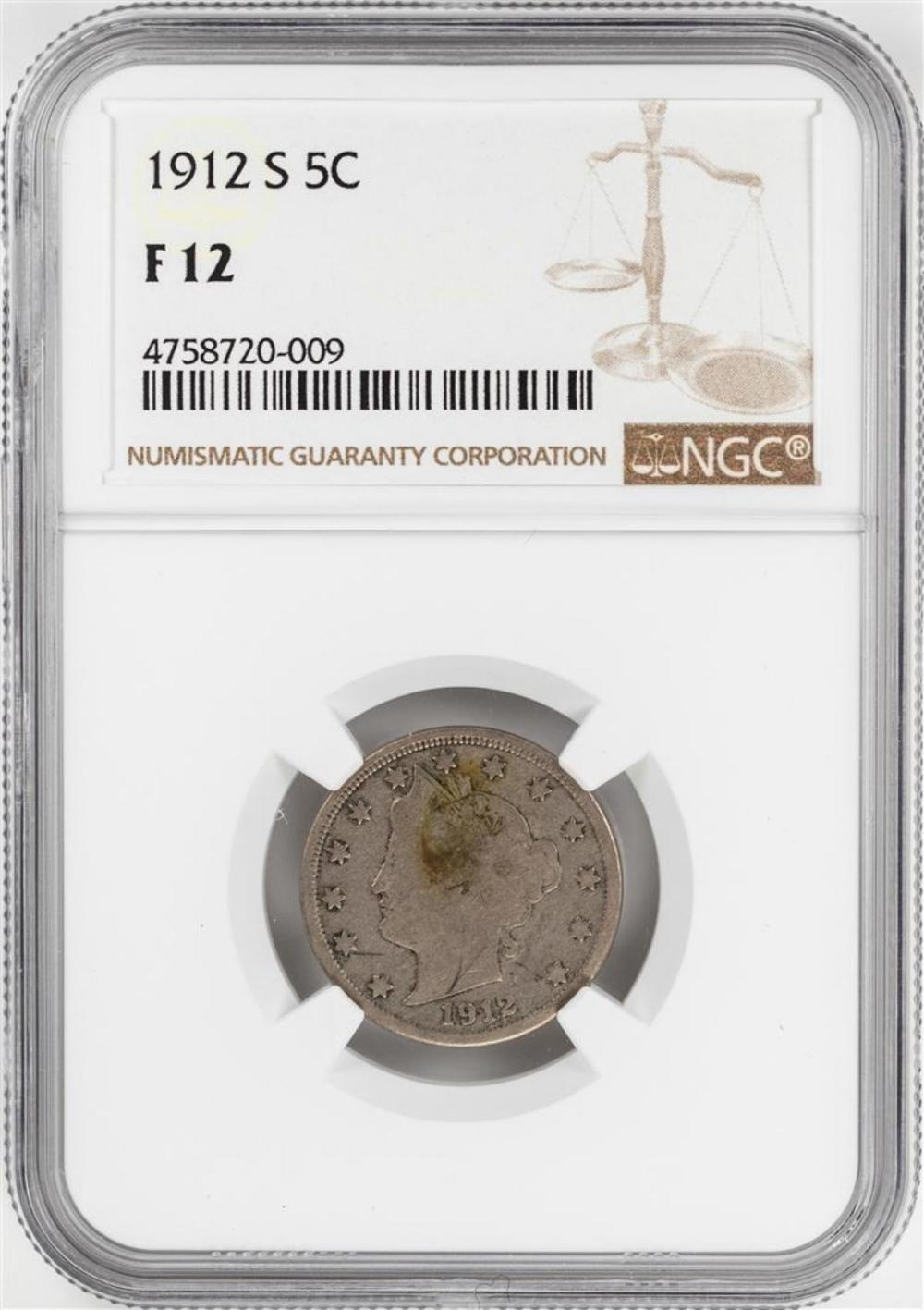 1912-S Liberty V Nickel Coin NGC F12