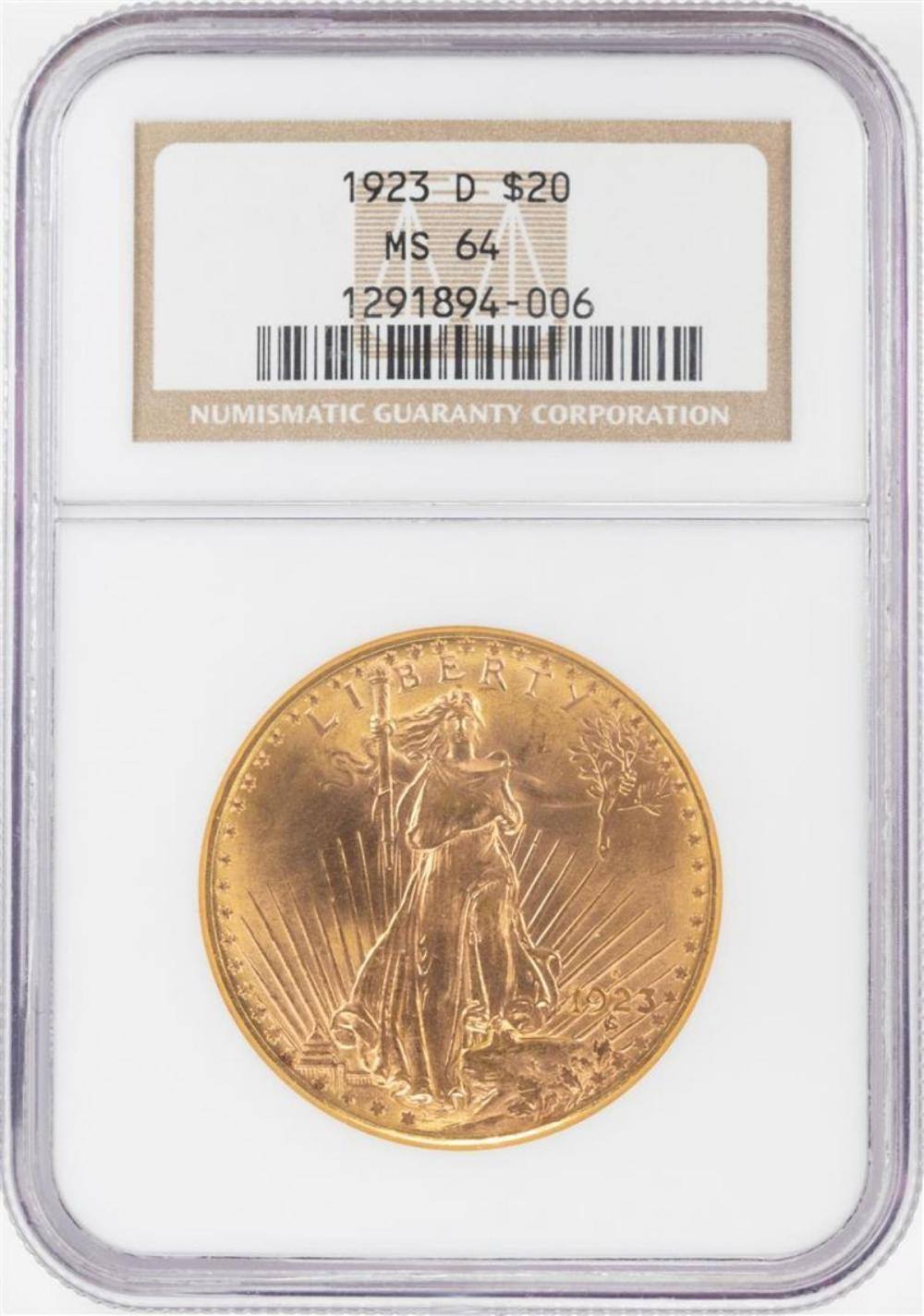 1923-D $20 St. Gaudens Double Eagle Gold Coin NGC MS64