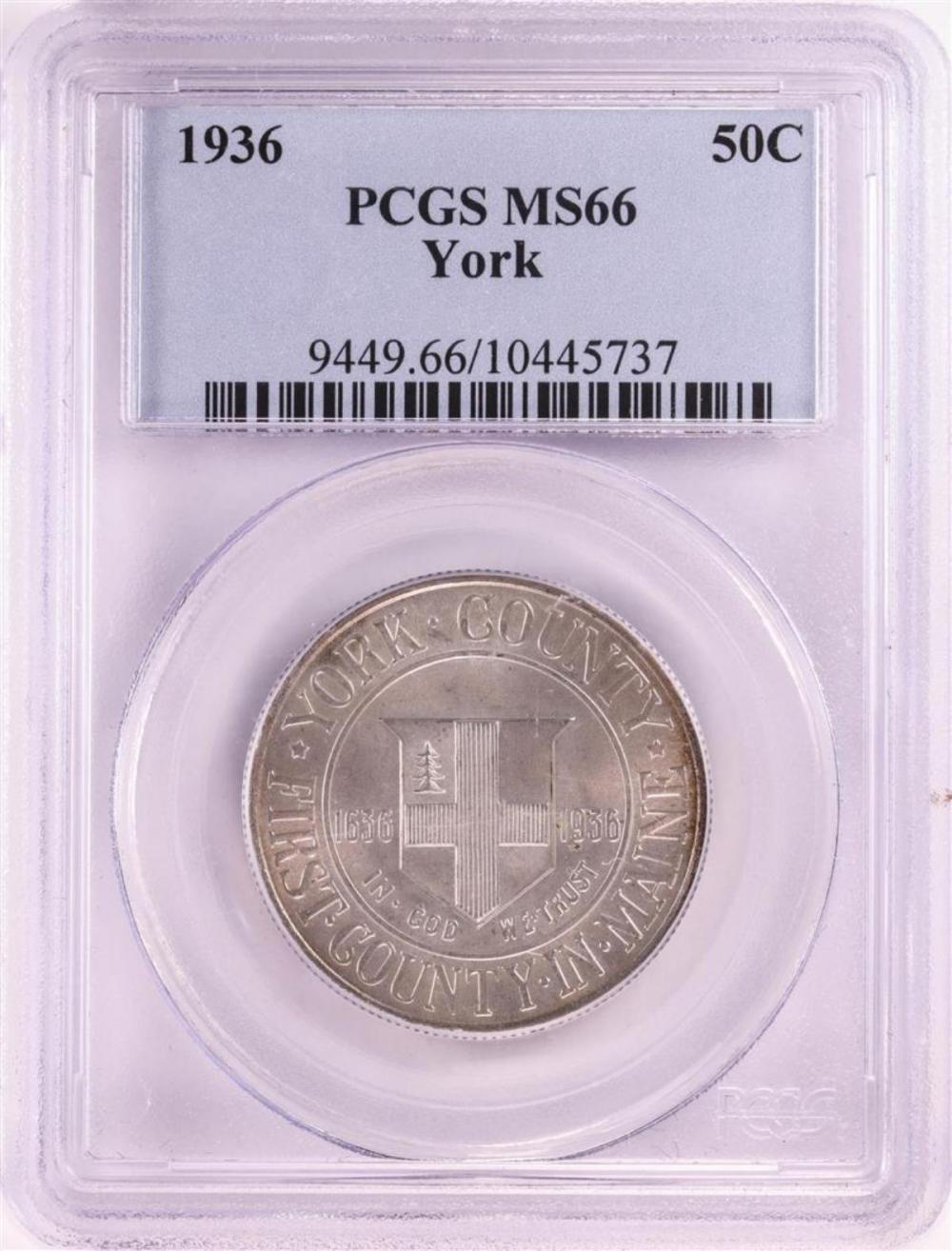 1936 York County Commemorative Half Dollar Coin PCGS MS66
