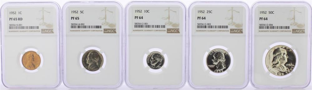 1952 (5) Coin Proof Set NGC Graded PF64/PR65/PF65RD