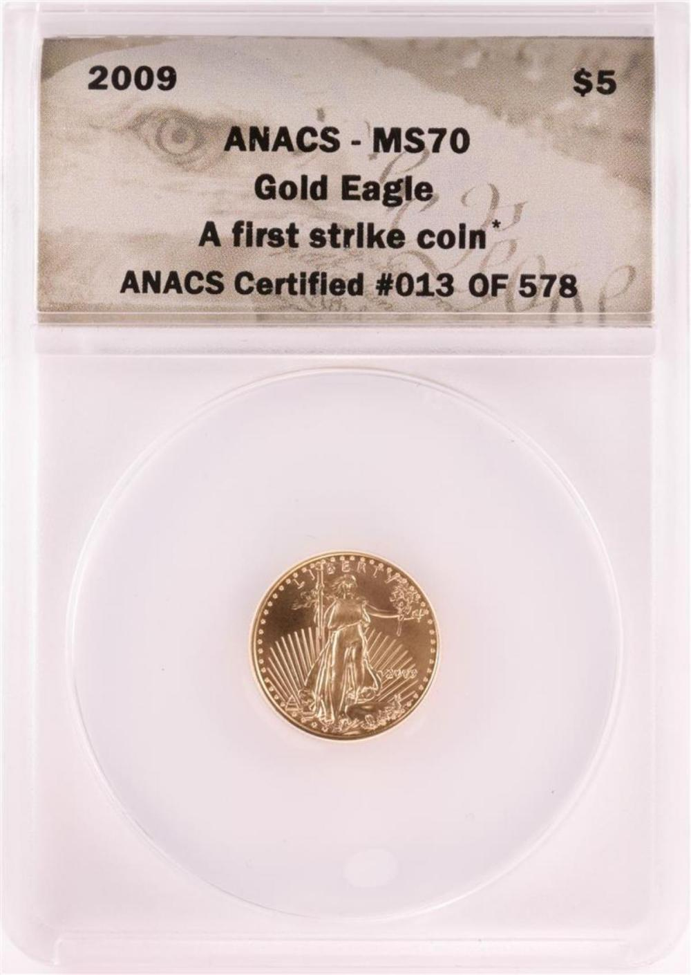 2009 $5 American Gold Eagle Coin ANACS MS70 First Strike