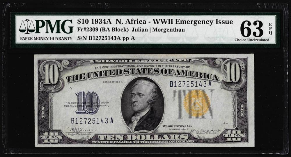 1934A $10 North Africa WWII Emergency Issue Silver Certificate Note PMG Ch. Unc 63EPQ