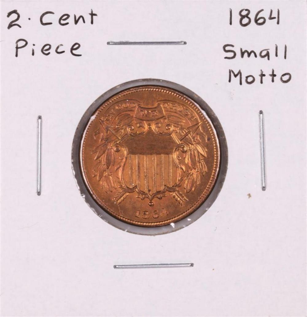 1864 Small Motto Two Cent Piece Coin