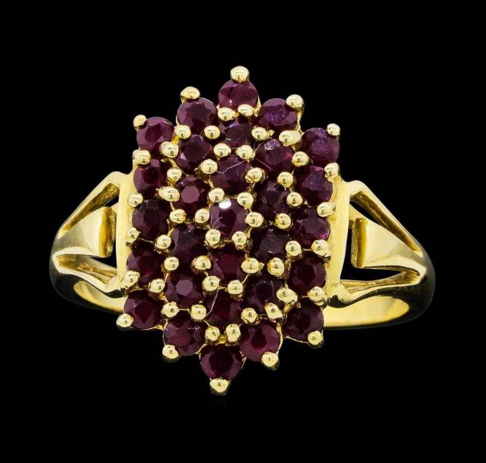 14KT Yellow Gold Ladies 1.00 ctw Ruby Cluster Ring