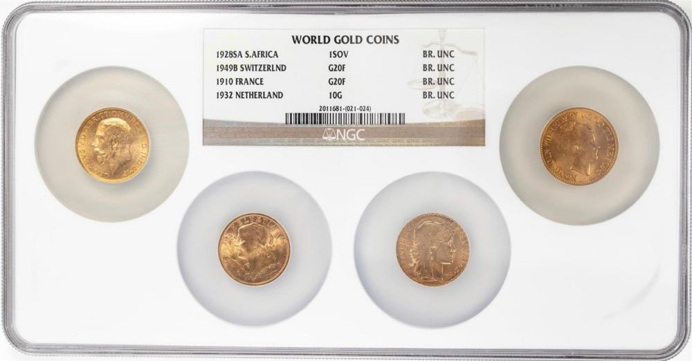 (4) World Gold Coins '28 South Africa '49 Swiss '10 France '32 Netherland NGC Uncirculated
