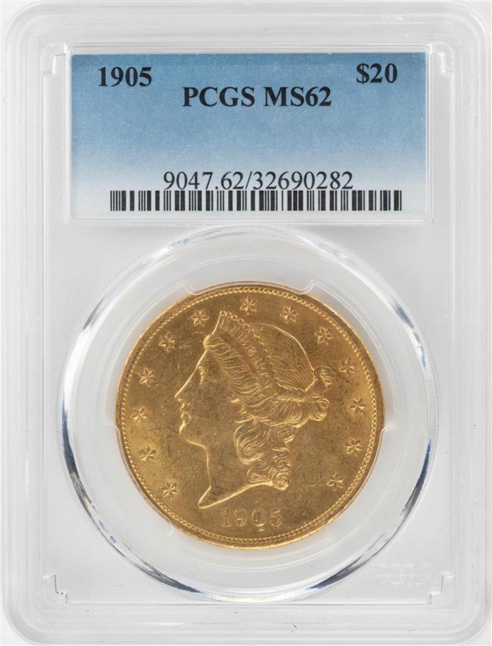 1905 $20 Liberty Head Double Eagle Gold Coin PCGS MS62