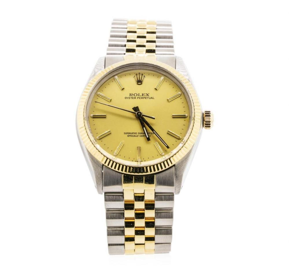 Men's Rolex Two Tone Oyster Perpetual Wristwatch with Box and Papers