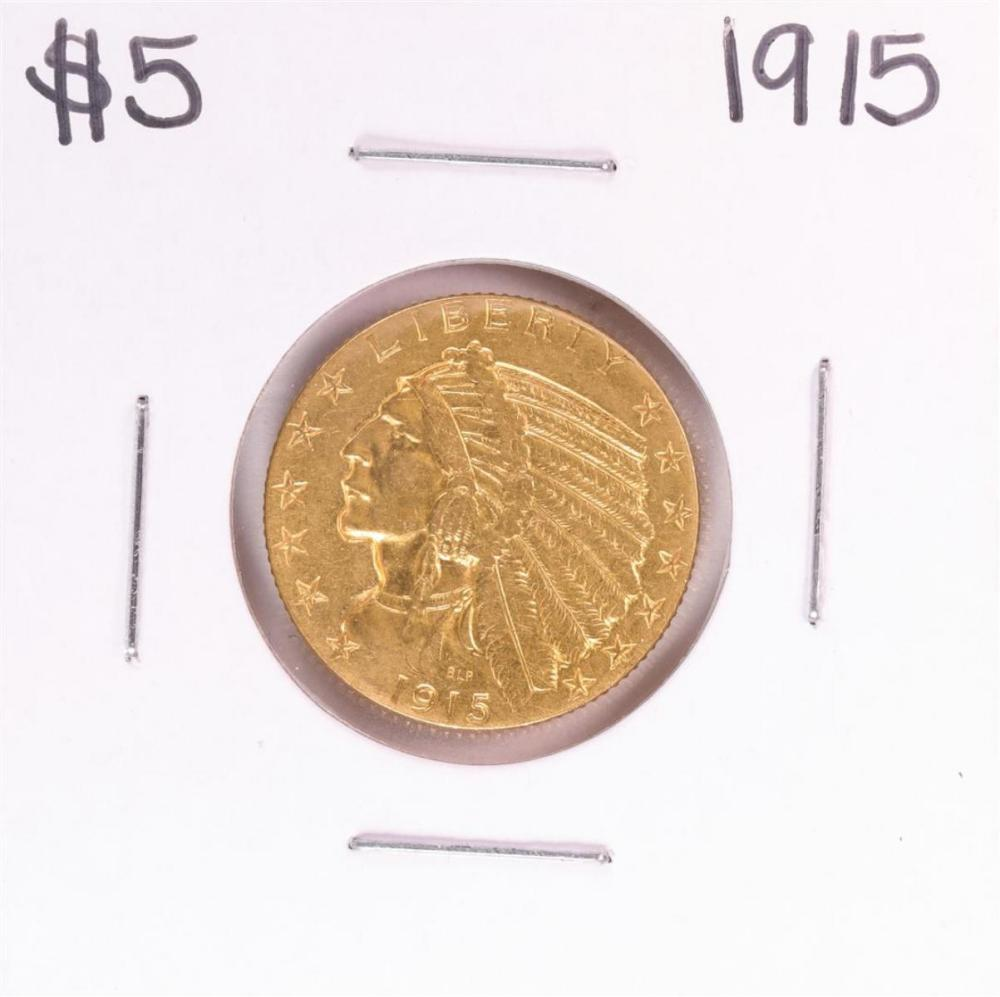 1915 $5 Indian Head Half Eagle Gold Coin