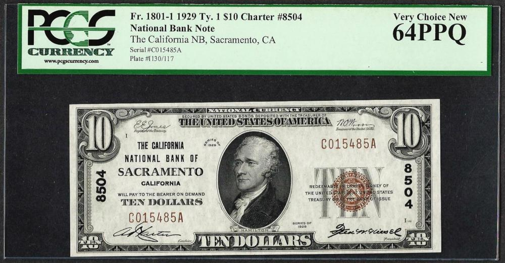 1929 $10 NB of Sacramento, CA CH# 8504 National Currency Note PCGS Very Choice New 64PPQ