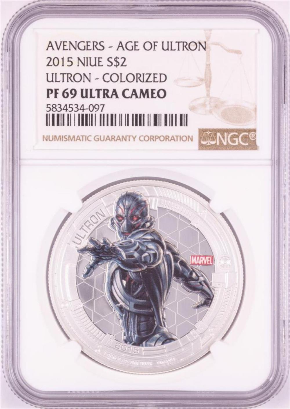 2015 Niue $2 Proof Avengers Age of Ultron Silver Coin NGC PF69 Ultra Cameo