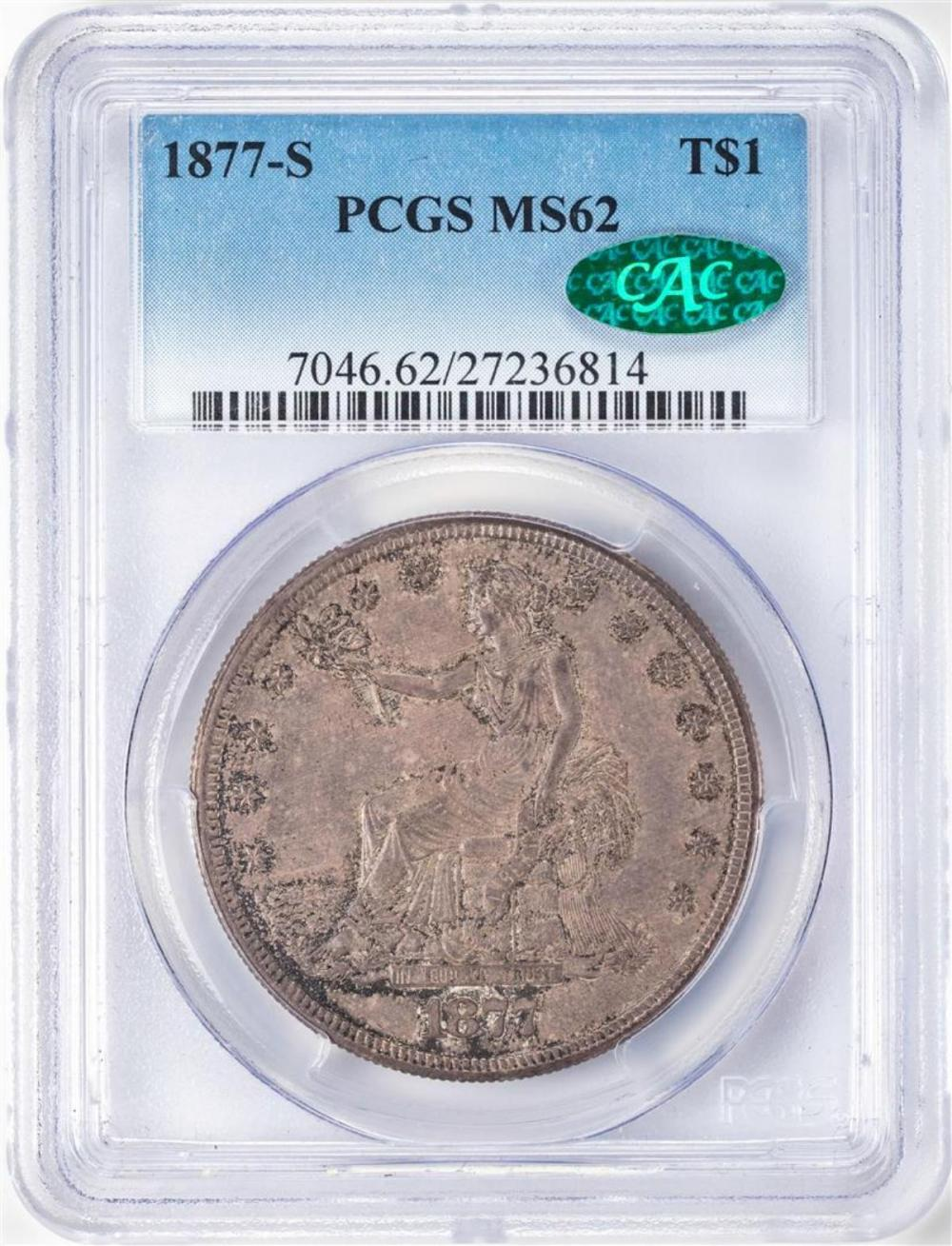 1877-S $1 Trade Silver Dollar Coins PCGS MS62 CAC