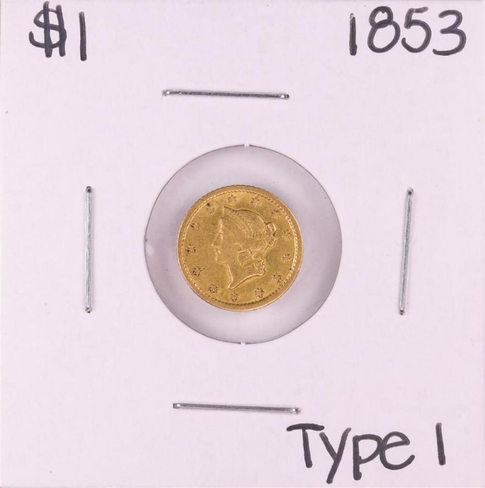 1853 $1 Type 1 Liberty Head Gold Dollar Coin
