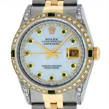 Rolex Mens Two Tone 18KT Yellow Gold Emerald and Diamond Datejust Wristwatch