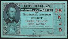 June 1940 Republican National Convention Philadelphia Ticket