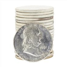 Roll of (20) 1961 Brilliant Uncirculated Franklin Half Dollar Coins
