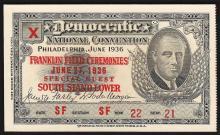 June 27 1936 Democratic National Convention Philadelphia Ticket