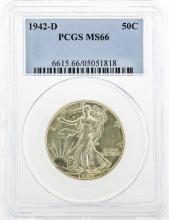1942-D Walking Liberty Half Dollar Coin PCGS MS66