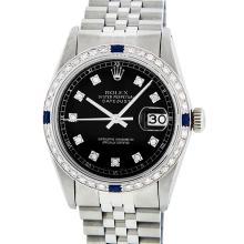 Rolex Stainless Steel 1.00ctw Sapphire and Diamond Datejust Mens Wristwatch