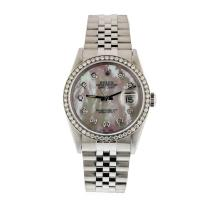 Mens Stainless Steel Rolex Datejust Wristwatch with MOP Diamond Dial