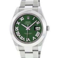 Rolex Mens Stainless Steel Diamond Roman Numeral Datejust Wristwatch