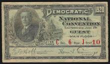 June 28th 1920 Democratic National Convention San Francisco Ticket