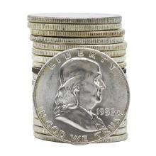 Roll of (20) 1958 Brilliant Uncirculated Franklin Half Dollar Coins