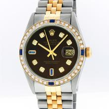 Rolex Mens Two Tone 14KT Yellow Gold Sapphire and Diamond Datejust Wristwatch
