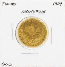 1909 Turkey 100 Kurush Gold Coin