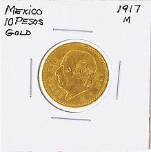 1917M 10 Pesos Mexico Gold Coin