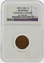 1909-S VDB Lincoln Wheat Cent NGC Graded AU Details