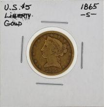 1865-S $5 Liberty Head Half Eagle Gold Coin