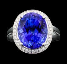 Platinum 9.99ct Tanzanite and Diamond Ring
