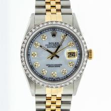 Rolex Mens Two Tone 14KT Yellow Gold 1.00ctw Diamond Datejust Wristwatch